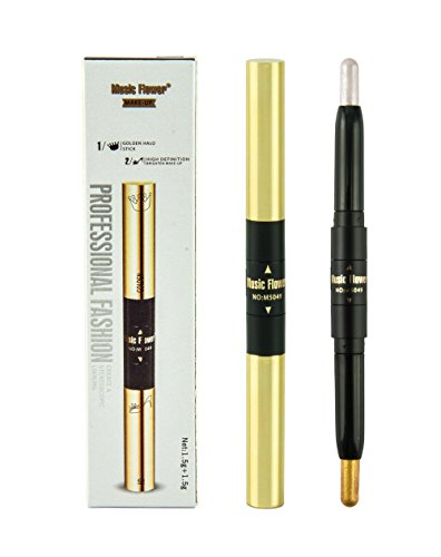 Frola Double Ended Shimmer Stick Gold Highlighter Pencil Bronzer Coutour Cream Brighten Face (1# White)