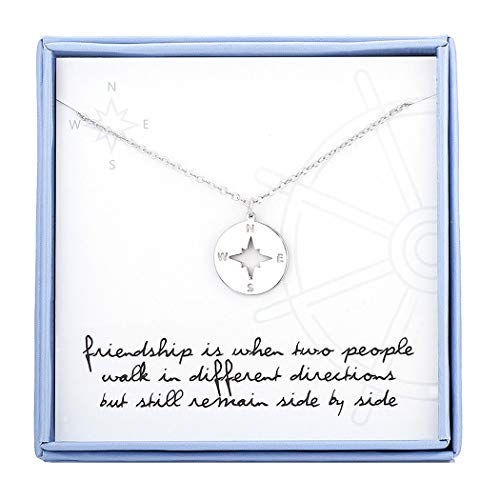 Compass Necklace for Best Friend Sterling Silver Friendship Necklaces BFF Gifts Jewelry for Women Girls Birthday Gifts Graduation Gifts