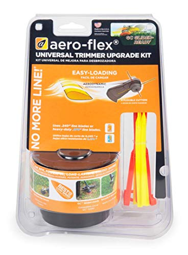 New Version Aero-Flex 2019 Model New and Improved Aero-Flex Premium Universal Replacement for Gas Trimmer Edger Head - No More Lines or Strings - #1 Option for Durability When Cutting Grass