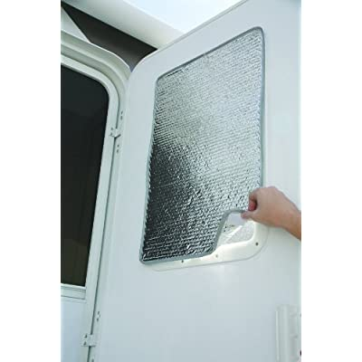 Camco SunShield Reflective Door Window Cover- Helps Protect Your RV from Harmful UV Rays and Regulates RV Temperature 16 x 25