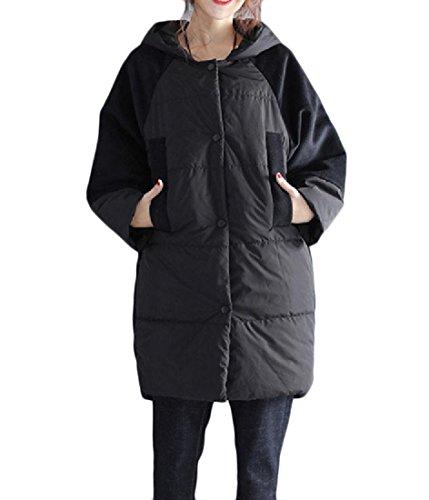 Women Slim Hooded Thicken Cotton Padded Coat Hoodies Black - 8