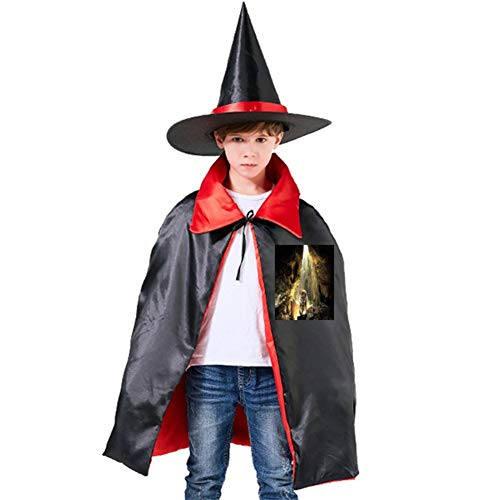 Tiger in The Cave Halloween Shawl and Witch Hat for Children Kids Red]()