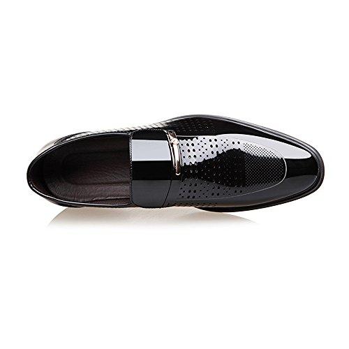 Formales Y zapatos Agujero Transpirable Moda on Negro Para Hombres Cuero Forrada Empalme Liso Pu Zapatos De Slip Negocios Jialun Oxford xCFX1ww