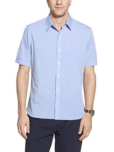 Geoffrey Beene Men's Slim Fit Easy Care Short Sleeve Button Down Shirt, Ultramarine Solid, Large