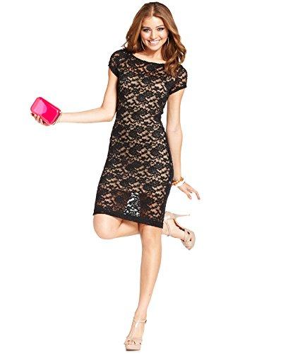 B Darlin Juniors' Lace Illusion Dress (Black/Nude, 3/4)