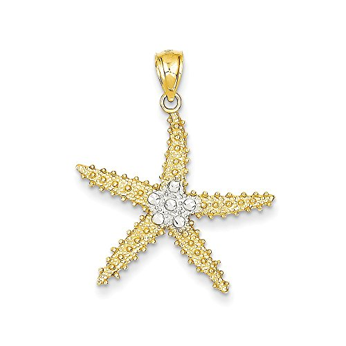 Diamond Cut Starfish Pendant (14K Gold & Rhodium Diamond-cut Starfish Pendant (1.06 in x 1.22 in))