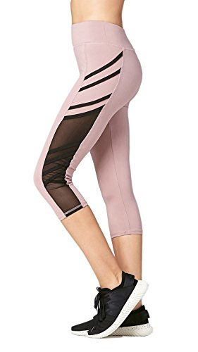 Premium Ultra Soft Womens High Waisted Capri Leggings - Cropped Length - Mesh - Mauve/Black - Plus Size (12-24)