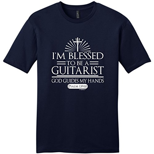 Guitarist Gift Blessed God Guides Christian Faith Young Mens T-Shirt Large NwNvy