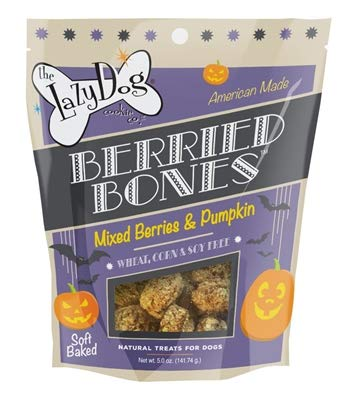 Lazy Dog Cookie Co. Berried Bones Fall Halloween Dog Treat, Mixed Berries & Pumpkin Flavor, Wheat Free, Made in USA, 5 oz