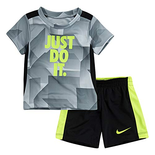 NIKE Children's Apparel Boys' Toddler Graphic T-Shirt and Shorts 2-Piece Set, Pure Platinum/Black, 4T