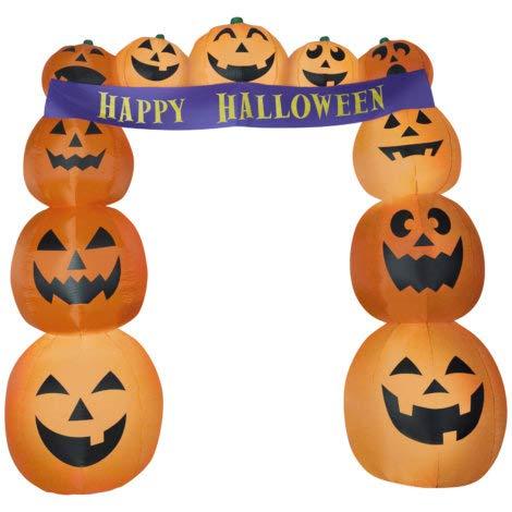 Gemmy! Airblown Pumpkin Stacks w/Archway Banner