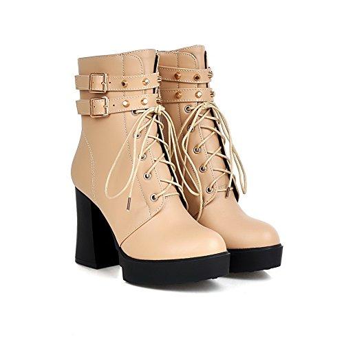 AgooLar Women's Round Closed Toe Zipper Pu Solid High Heels Boots Beige l3qW2kII