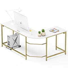 Hago - Make Your Home More Comfortable!  Modern & Stylish L-Shaped Desk: Perfect Addition to Any Room in Your Home! The Desk Can Bear The Weight of 450lbs  Great Feature:  Adjustable leg pad protect your floor and adjustable height as you...