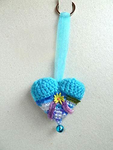 Llavero CORAZÓN Crochet-Azul margarita