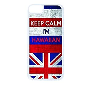 Hawaii Flag-Keep Calm, I'm Hawaiin- For LG G3 Phone Case Cover Universal-Hard White Plastic Outer Shell with Inner Soft Black Hard Lining