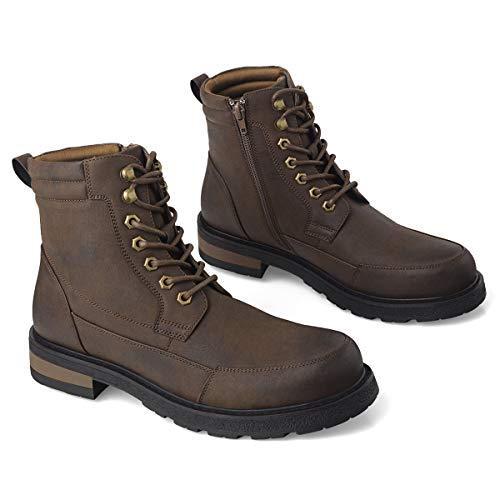 GM GOLAIMAN Men's Combat Boots - Lace Up Zip Apron Toe Ankle Boot for Military Tactical Work Motorcycle Hiking Brown 7