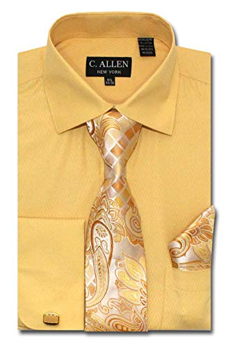 Men's Solid Micro Pattern Regular Fit Dress Shirts with Tie/Hanky Cufflinks Combo (Copper, 16.5
