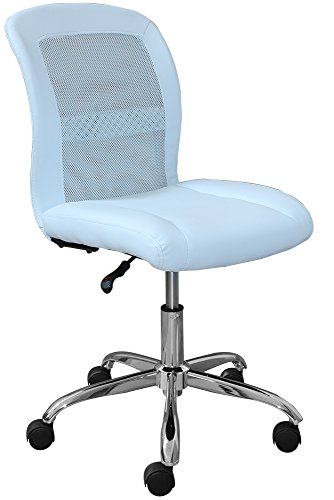 Serta Essentials Computer Chair, Blue Sky Faux Leather and Mesh