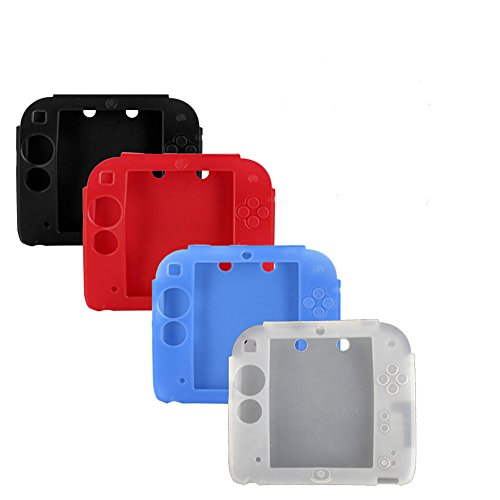 4Packs Protective Soft Silicone Rubber Gel Skin Case Cover for Nintendo 2DS (BL+RE+BU+WH)