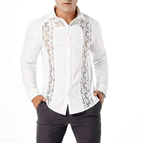 Misaky Men's Shirt Autumn Winter Casual Lace Shirts Long Sleeve Hollow Top Blouse(White, US S/Tag L)