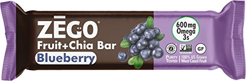 Fruit Energy Bars Box - ZEGO Snacks Fruit+Chia Bars: Blueberry 12 (25g) bars/box Delicious Non GMO Vegan Gluten Free On-The-Go Snacks, Athletes, Adults, Kids, Easy to Digest, No Added Sugar, Paleo, Excellent Source Omega 3s