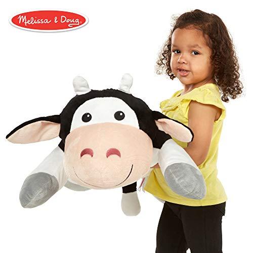 Melissa & Doug Cuddle Cow Jumbo Plush Stuffed Animal (Reusable Activity Card, Nametag, Over 2 Feet Long)