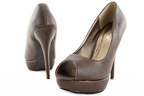 High Heels Pumps Damenschuhe Stiletto Plateau Schuhe Schlangenleder Optik Z4826-P, Präzise Farbe:Braun;Schuhgröße:EUR 40