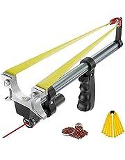 Jakt Slingshot, töjbar professionell slangbot, infraröd lasersikte jaktutrustning med 2 långsträckta platta gummiband och 1 förpackning med lerpiller siktverktyg