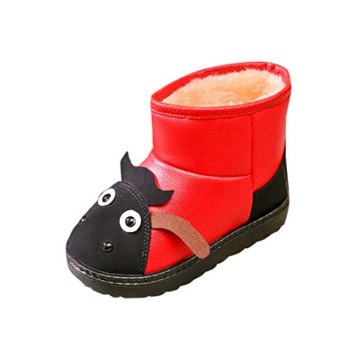 Kind Stiefel, Chshe Säugling Sohle Gummi Obere PU-Leder Karikatur Tier Gedruckt Martin Schlüpfen Schuhe(1-6 Jahre) Rot