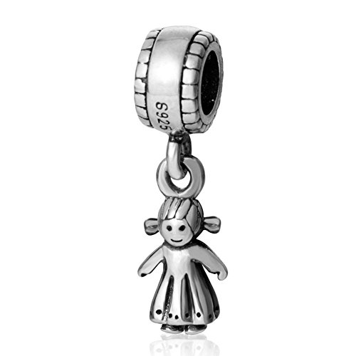 925 Sterling Silver 3 Braid (Choruslove Happy Little Girl Charms with Two Braid 925 Sterling Silver Dangle Bead)