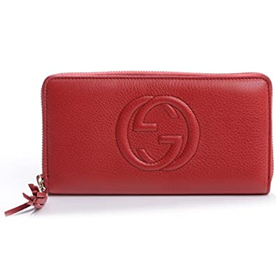 d38880da2df0 Amazon.com  Gucci Soho Red Tabasco Leather Wallet Zip around Box Continental  Italy New  Shoes