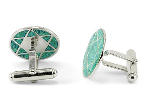 925 Sterling Silver Men's Star of David Cufflinks for Men Handmade Jewelry with Sea Green Polymer Clay ()