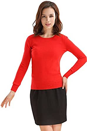PinkWind Women's Candy Color Cashmere Round Neck Basic Pullover Sweater  Red Small / US0