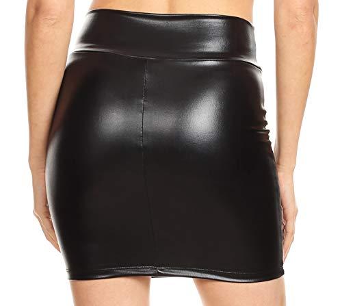 Sakkas Gonna Nero Elastico Breve Usa In Sexy Matita Metallic Made Womens Shiny Partito qn4gqAC