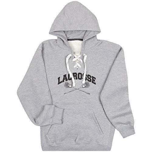 Guys Lacrosse Sport Lace Sweatshirt   Crossed Sticks   Adult Large Gray