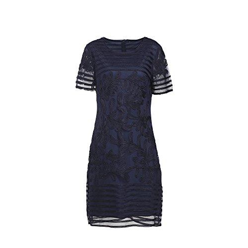 GULUOLA Women's Round Collar Short Sleeve Soutache Floral Dress (X-Large, - Clothes Soutache Dress