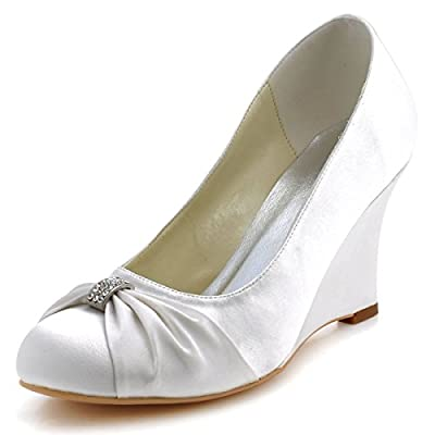 Elegantpark EP2005 Women's Evening Party Round Toe Wedge Heel Satin Rhinestones Wedding Bridal Shoes