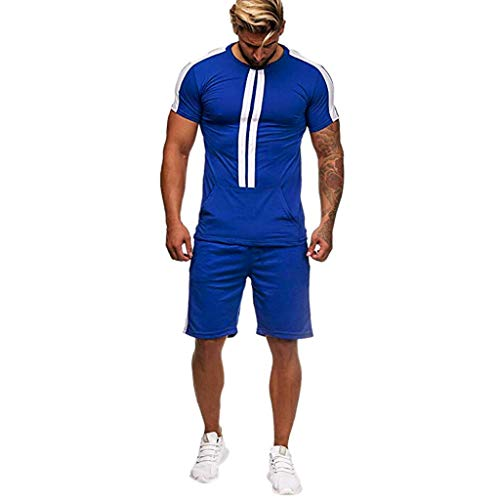Realdo Big Mens Tracksuit Set,Men's 2 Pcs Casual Solid Stripe Shirt Shorts Sports Thin Athletic Wear (XX-Large, Blue)]()