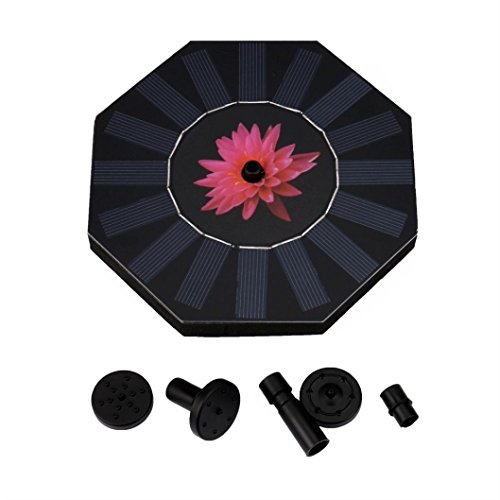 - Solar Powered Bird Bath Fountain Pump 1.4W Solar Panel Water Floating Pump Kit with Spraying Nozzle for Pond Fountains Ponds Waterfalls etc for Pond, Pool and Garden Decoration (Black II)