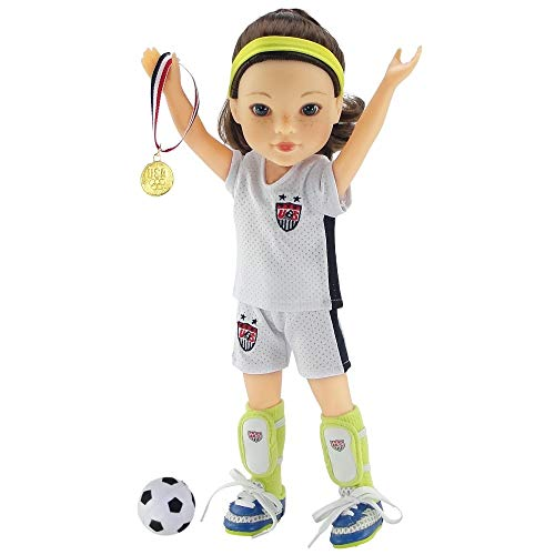 14 Inch Doll Clothes | USA 8 Piece Soccer Uniform Including Shin Guards and Gold Medal! | Fits American Girl Wellie Wishers Dolls | Gift - Heart Yellow Shoes Doll