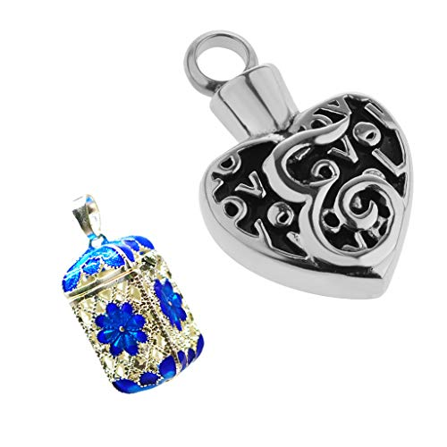 SM SunniMix 9.2g Aroma Essential Oil Diffuser Rectangle Bottle Pendant Blue Engraved Flower & Antique Silver Vintage Heart Shape Cremation Ashes Holder Locket