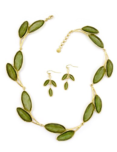 Michael Vincent Michaud Cast Artisan Glass & Gold-Plated Green Sage Leaf Necklace + Earrings Set, American Made - Glass Bronze Sage