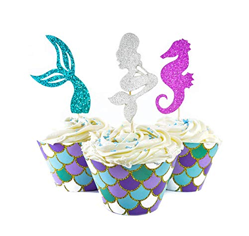 Price comparison product image 48 Pieces Cupcake Mermaid Toppers Picks,  Baby Birthday Party Supplies,  Mermaid Cupcake Wrappers