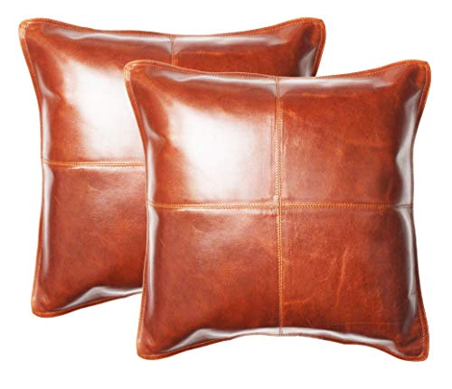 (Cotton Craft 2 Pack Real Genuine Leather Pillow Cover 17x17 - Tan - Modern Contemporary Style - Hand Pieced & Patched by Skilled Artisans - Hidden Zipper - Cover Only Insert Required)