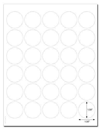 (Waterproof White Matte 1.5 inch Diameter Circle Labels for Laser Printers with Template and Printing Instructions, 5 Sheets, 150 Labels (JR15))