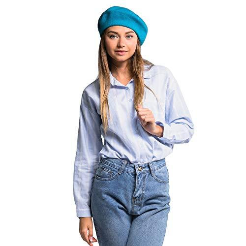 Ladies Wool Beret | Women's Warm French Hat | Winter Autumn Headwear (Turquoise)