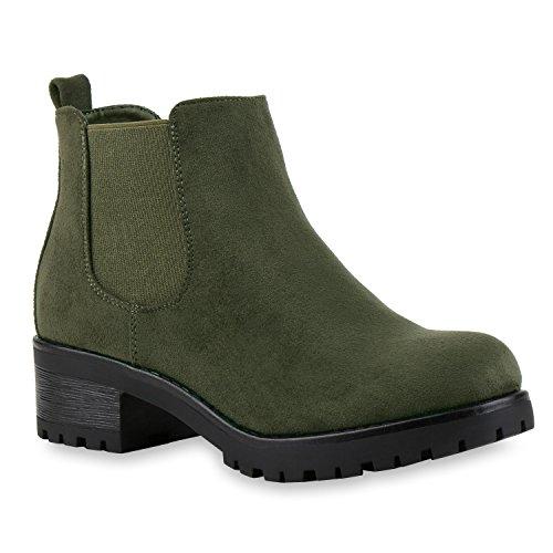Flandell Bernice Boots Damen Vorne Profilsohle Chelsea Stiefeletten Plateau Blockabsatz Mit Dunkelgrün Stiefelparadies