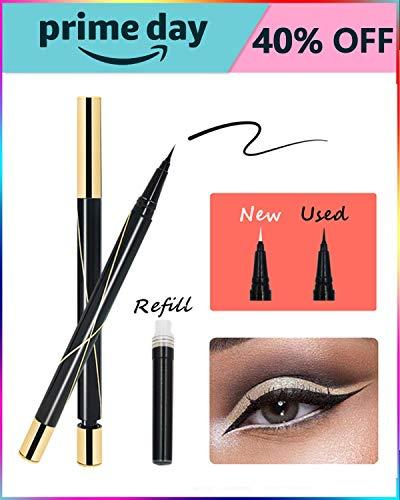 Waterproof Liquid Eyeliner with Plus Refill - iMethod Longwear Refillable Ultra Fine Felt Tip Liquid Eye Liner Pen, Easy to Apply, Water-resistant and Smudge-proof, True Black, 0.4mm (Liquid Eyeliner Refill)