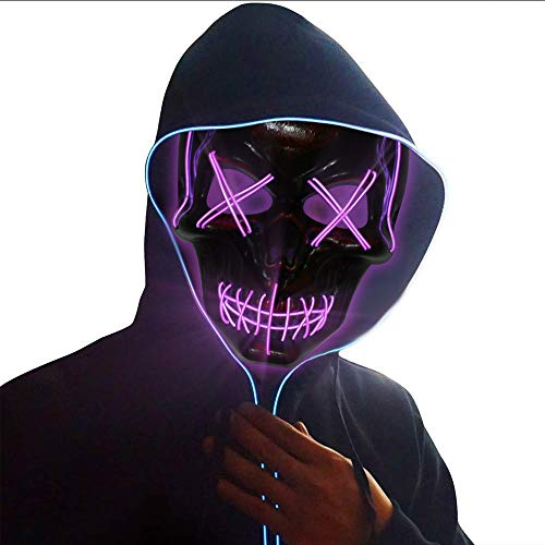 Halloween LED Light Up Glowing Mask for Cosplay, Costume Party Purple