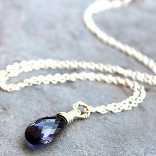 Blue Gemstone Necklace Sterling Silver Violet Iolite Pendant Briolette Teardrop 18 Inch ()